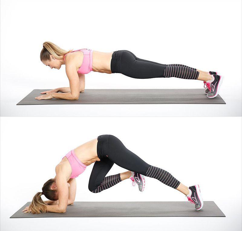 Bài tậpElbow Plank With Knee Drive
